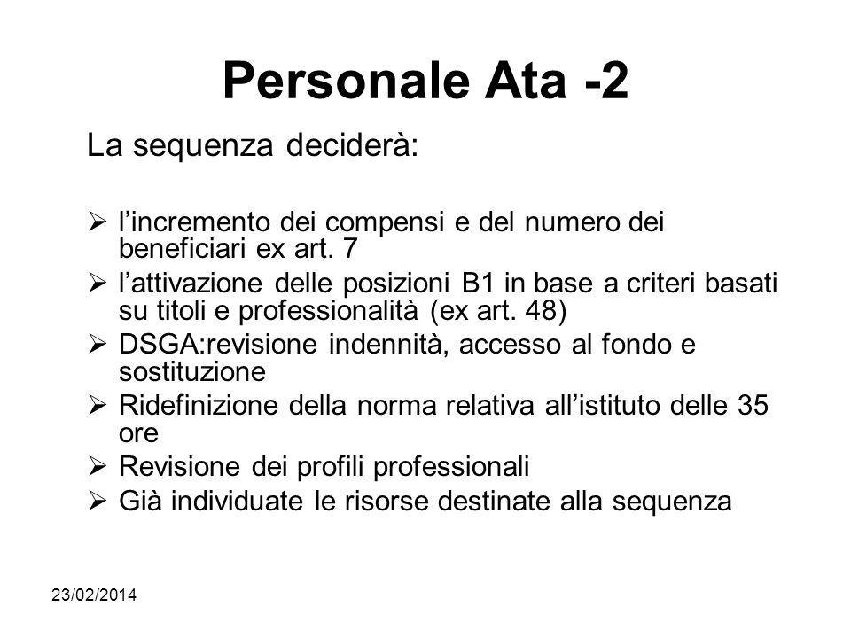 23/02/2014 Personale Ata -2 La sequenza deciderà: lincremento dei compensi e del numero dei beneficiari ex art. 7 lattivazione delle posizioni B1 in b