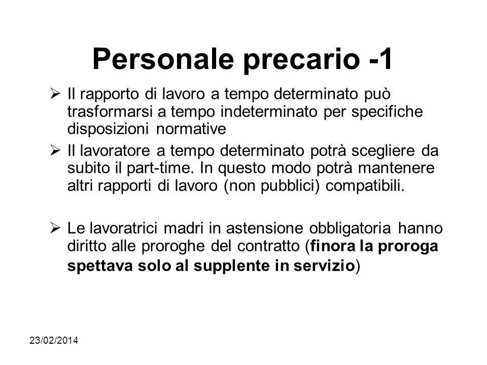 23/02/2014 Personale precario -1 Il rapporto di lavoro a tempo determinato può trasformarsi a tempo indeterminato per specifiche disposizioni normativ