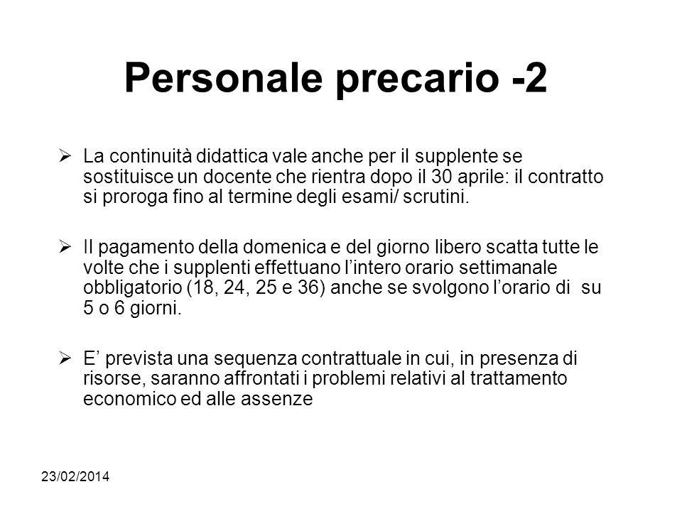 23/02/2014 Personale precario -2 La continuità didattica vale anche per il supplente se sostituisce un docente che rientra dopo il 30 aprile: il contr