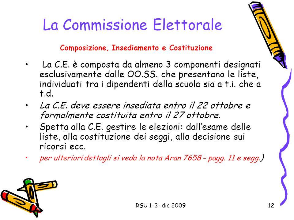 La Commissione Elettorale Composizione, Insediamento e Costituzione La C.E.