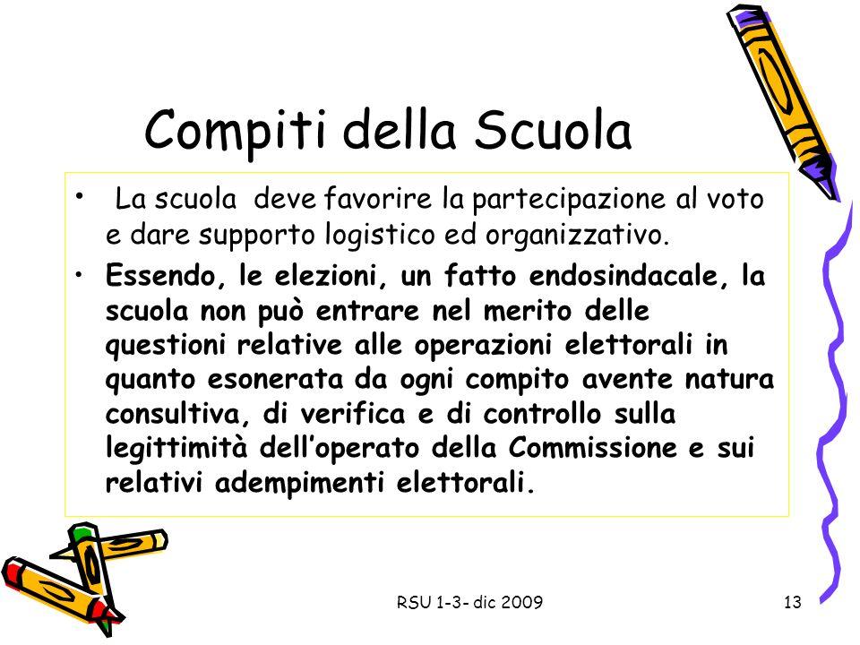 Compiti della Scuola La scuola deve favorire la partecipazione al voto e dare supporto logistico ed organizzativo.