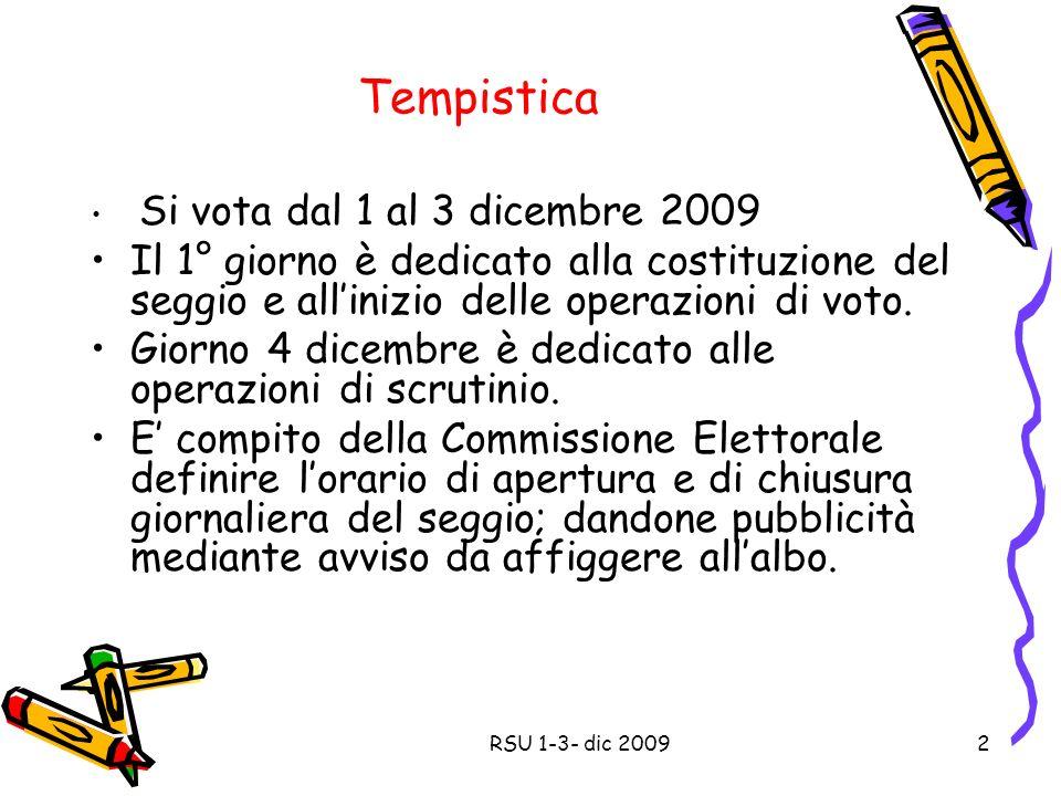 Tempistica Si vota dal 1 al 3 dicembre 2009 Il 1° giorno è dedicato alla costituzione del seggio e allinizio delle operazioni di voto.