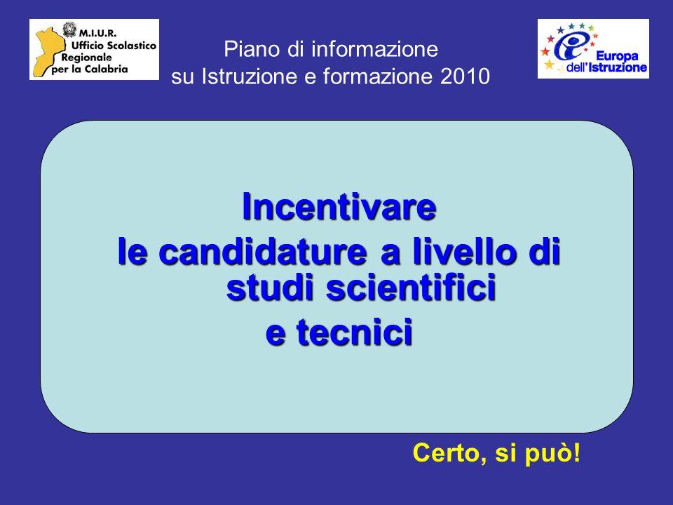 Piano di informazione su Istruzione e formazione 2010 Incentivare le candidature a livello di studi scientifici e tecnici Certo, si può!