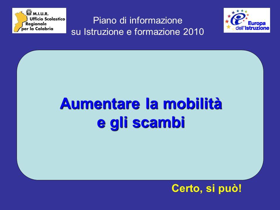 Piano di informazione su Istruzione e formazione 2010 Aumentare la mobilità e gli scambi Certo, si può!