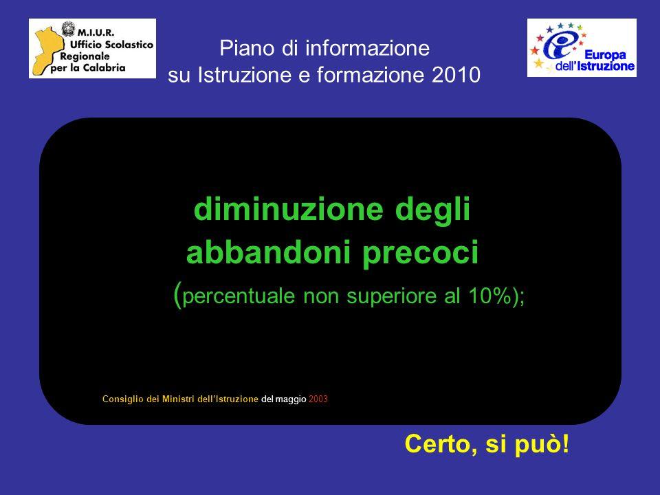 Piano di informazione su Istruzione e formazione 2010 diminuzione degli abbandoni precoci ( percentuale non superiore al 10%); Certo, si può.