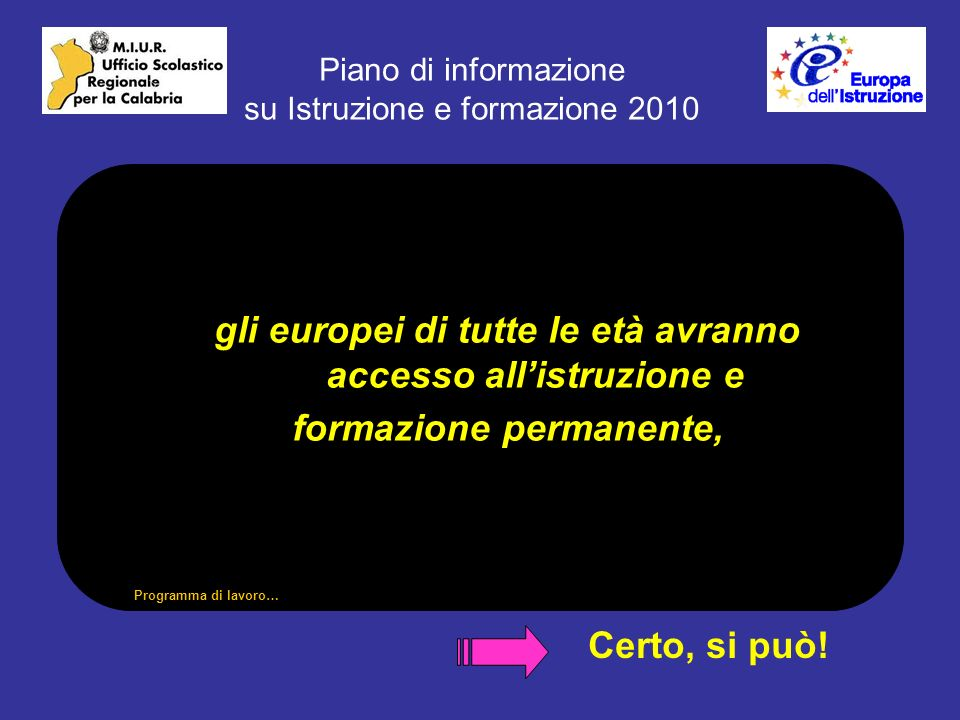 Piano di informazione su Istruzione e formazione 2010 gli europei di tutte le età avranno accesso allistruzione e formazione permanente, Certo, si può.