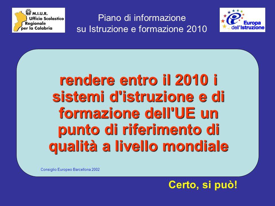 Piano di informazione su Istruzione e formazione 2010 rendere entro il 2010 i sistemi d istruzione e di formazione dell UE un punto di riferimento di qualità a livello mondiale Certo, si può.
