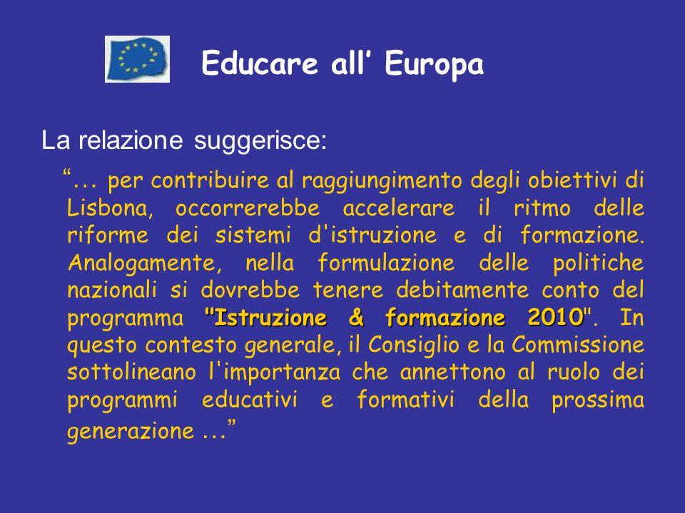 Educare all Europa La relazione suggerisce: Istruzione & formazione 2010 … per contribuire al raggiungimento degli obiettivi di Lisbona, occorrerebbe accelerare il ritmo delle riforme dei sistemi d istruzione e di formazione.