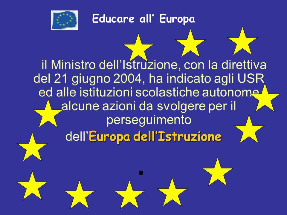 Educare all Europa il Ministro dellIstruzione, con la direttiva del 21 giugno 2004, ha indicato agli USR ed alle istituzioni scolastiche autonome alcune azioni da svolgere per il perseguimento EuropadellIstruzione dell Europa dellIstruzione