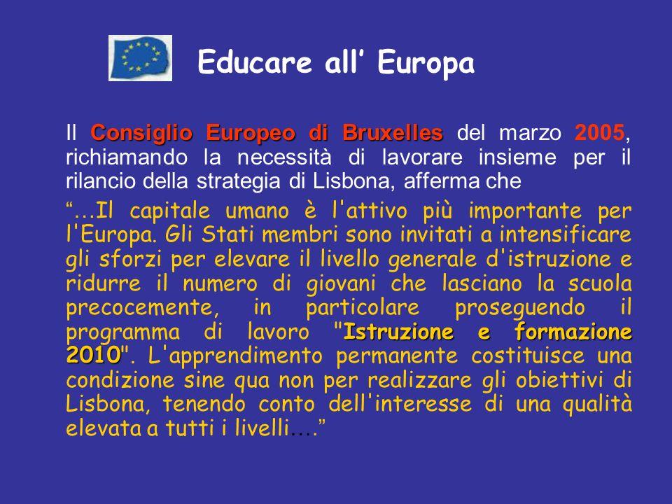 Educare all Europa Consiglio Europeo di Bruxelles Il Consiglio Europeo di Bruxelles del marzo 2005, richiamando la necessità di lavorare insieme per il rilancio della strategia di Lisbona, afferma che Istruzione e formazione 2010 … Il capitale umano è l attivo più importante per l Europa.