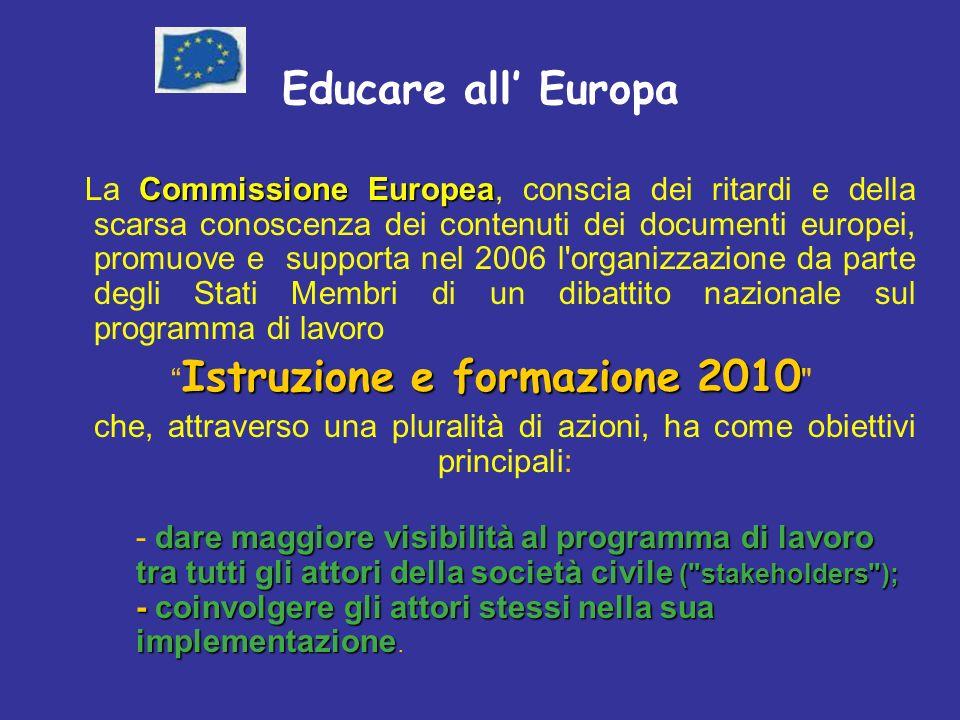 Educare all Europa Commissione Europea La Commissione Europea, conscia dei ritardi e della scarsa conoscenza dei contenuti dei documenti europei, promuove e supporta nel 2006 l organizzazione da parte degli Stati Membri di un dibattito nazionale sul programma di lavoro Istruzione e formazione 2010 Istruzione e formazione 2010 che, attraverso una pluralità di azioni, ha come obiettivi principali: dare maggiore visibilità al programma di lavoro tra tutti gli attori della società civile ( stakeholders ); - coinvolgere gli attori stessi nella sua implementazione - dare maggiore visibilità al programma di lavoro tra tutti gli attori della società civile ( stakeholders ); - coinvolgere gli attori stessi nella sua implementazione.