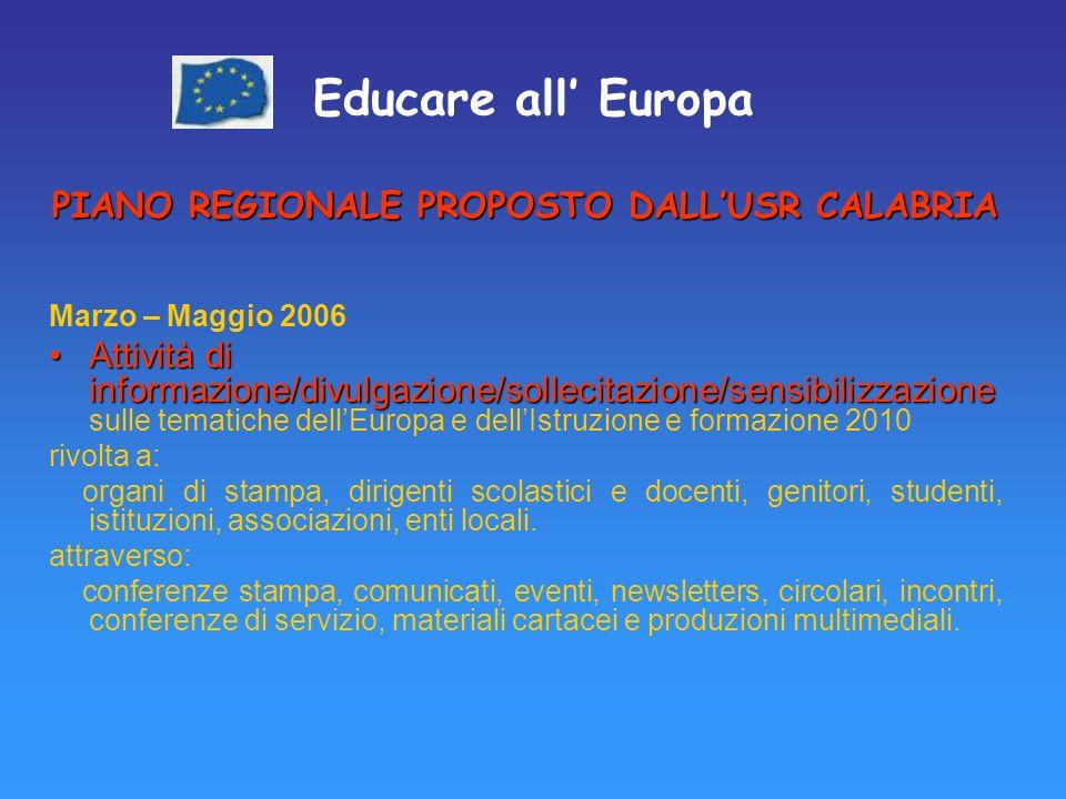 Educare all Europa PIANO REGIONALE PROPOSTO DALLUSR CALABRIA Marzo – Maggio 2006 Attività di informazione/divulgazione/sollecitazione/sensibilizzazioneAttività di informazione/divulgazione/sollecitazione/sensibilizzazione sulle tematiche dellEuropa e dellIstruzione e formazione 2010 rivolta a: organi di stampa, dirigenti scolastici e docenti, genitori, studenti, istituzioni, associazioni, enti locali.