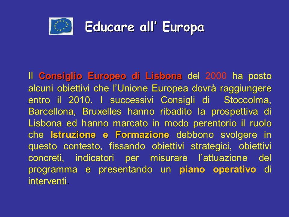 Educare all Europa Consiglio Europeo di Lisbona Istruzione e Formazione Il Consiglio Europeo di Lisbona del 2000 ha posto alcuni obiettivi che lUnione Europea dovrà raggiungere entro il 2010.