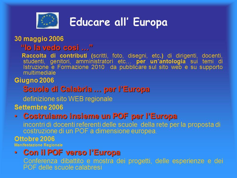 Educare all Europa 30 maggio 2006 Io la vedo così … Raccolta di contributi (scritti, foto, disegni, etc.) di dirigenti, docenti, studenti, genitori, amministratori etc… per unantologia sui temi di Istruzione e Formazione 2010 da pubblicare sul sito web e su supporto multimediale Giugno 2006 Scuole di Calabria … per lEuropa Scuole di Calabria … per lEuropa definizione sito WEB regionale Settembre 2006 Costruiamo insieme un POF per lEuropaCostruiamo insieme un POF per lEuropa incontri di docenti referenti delle scuole della rete per la proposta di costruzione di un POF a dimensione europea.