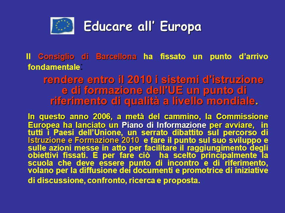Educare all Europa Consiglio di Barcellona Il Consiglio di Barcellona ha fissato un punto darrivo fondamentale : rendere entro il 2010 i sistemi d istruzione e di formazione dell UE un punto di riferimento di qualità a livello mondiale.