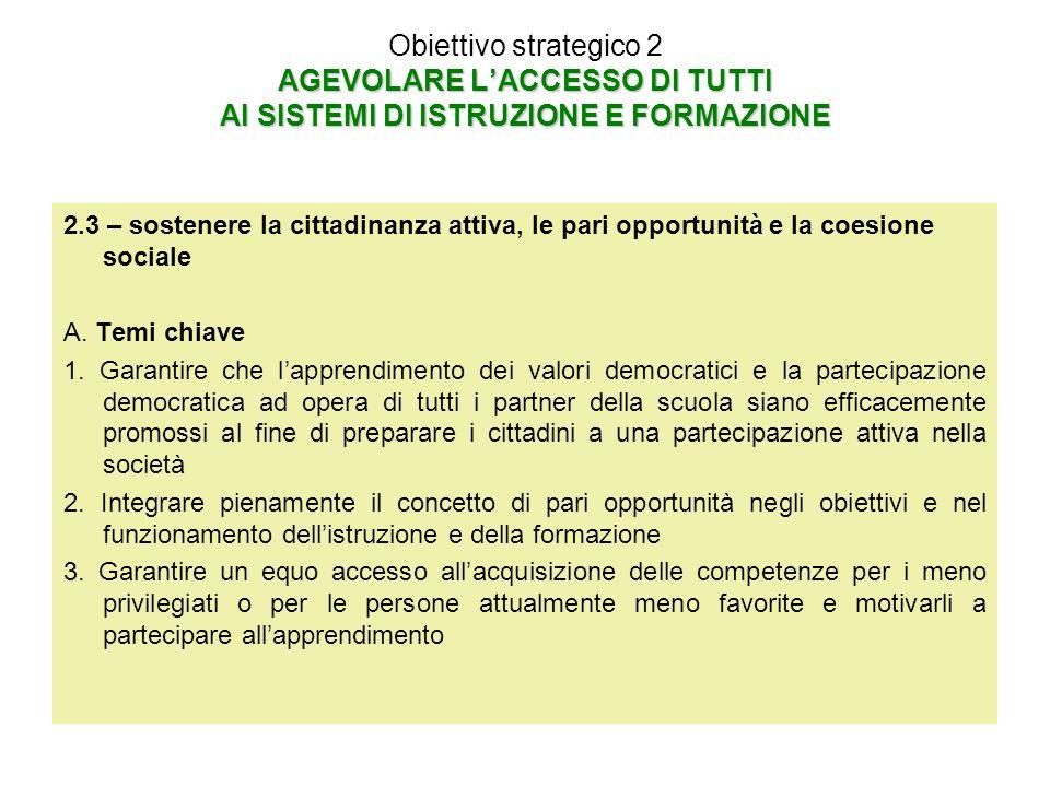 AGEVOLARE LACCESSO DI TUTTI AI SISTEMI DI ISTRUZIONE E FORMAZIONE Obiettivo strategico 2 AGEVOLARE LACCESSO DI TUTTI AI SISTEMI DI ISTRUZIONE E FORMAZIONE 2.3 – sostenere la cittadinanza attiva, le pari opportunità e la coesione sociale A.