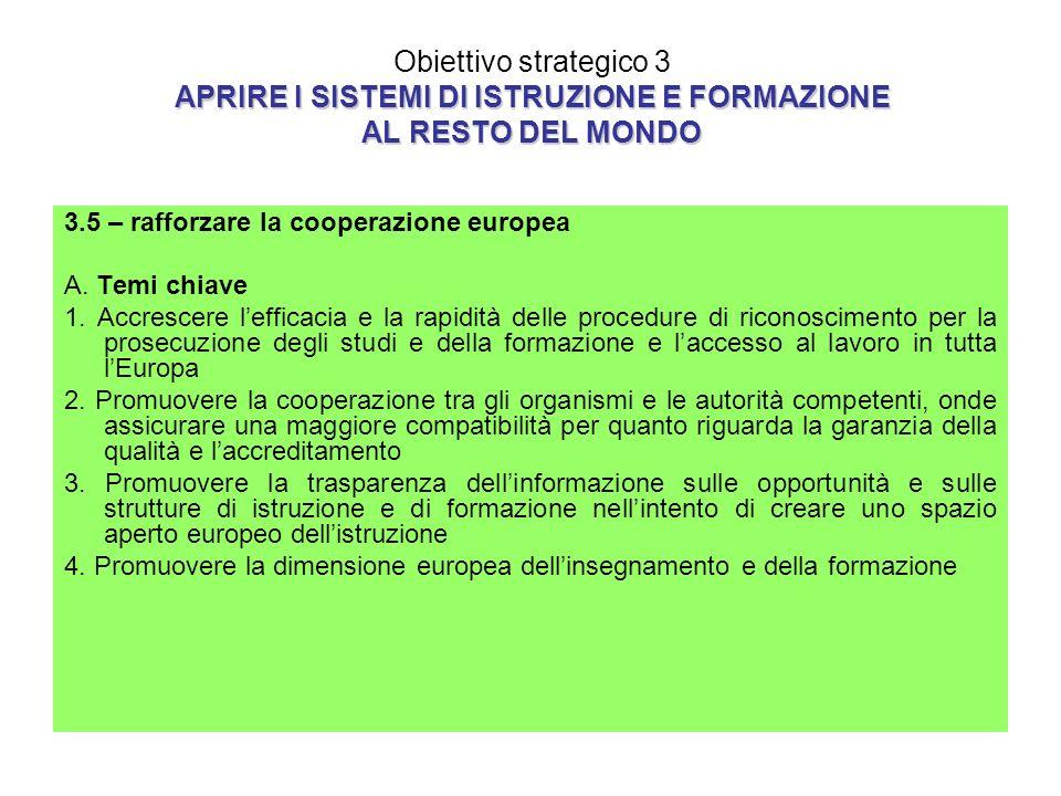 APRIRE I SISTEMI DI ISTRUZIONE E FORMAZIONE AL RESTO DEL MONDO Obiettivo strategico 3 APRIRE I SISTEMI DI ISTRUZIONE E FORMAZIONE AL RESTO DEL MONDO 3.5 – rafforzare la cooperazione europea A.