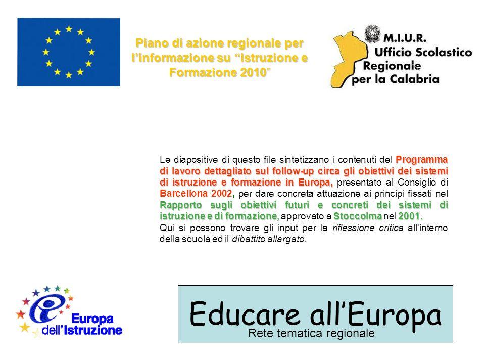 Educare allEuropa Rete tematica regionale Piano di azione regionale per linformazione su Istruzione e Formazione 2010 Programma di lavoro dettagliato sul follow-up circa gli obiettivi dei sistemi di istruzione e formazione in Europa, Rapporto sugli obiettivi futuri e concreti dei sistemi di istruzione e di formazione, Stoccolma 2001.