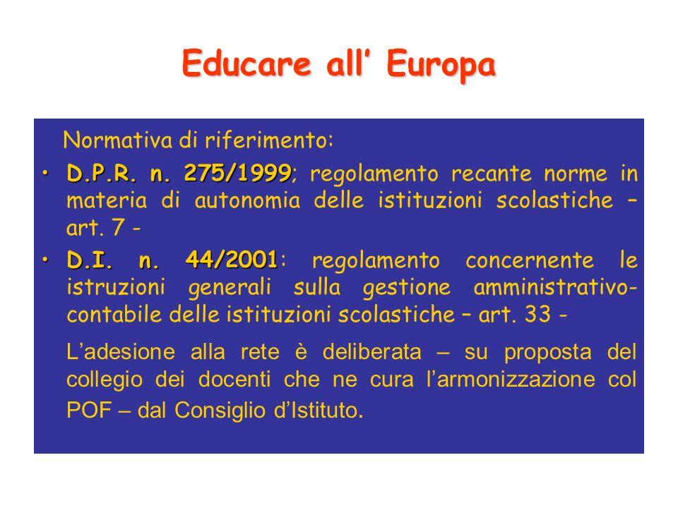 Educare all Europa Normativa di riferimento: D.P.R.
