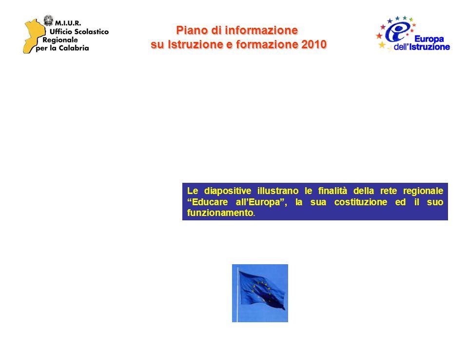 Le diapositive illustrano le finalità della rete regionale Educare allEuropa, la sua costituzione ed il suo funzionamento.