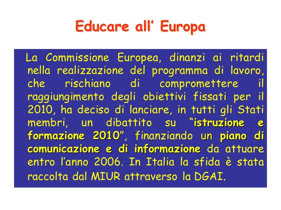 Educare all Europa istruzione e formazione 2010un piano di comunicazione e di informazione La Commissione Europea, dinanzi ai ritardi nella realizzazione del programma di lavoro, che rischiano di compromettere il raggiungimento degli obiettivi fissati per il 2010, ha deciso di lanciare, in tutti gli Stati membri, un dibattito su istruzione e formazione 2010, finanziando un piano di comunicazione e di informazione da attuare entro lanno 2006.