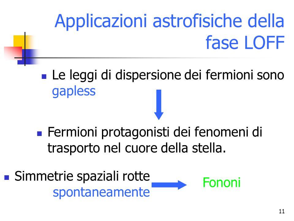 11 Applicazioni astrofisiche della fase LOFF Le leggi di dispersione dei fermioni sono gapless Fermioni protagonisti dei fenomeni di trasporto nel cuo