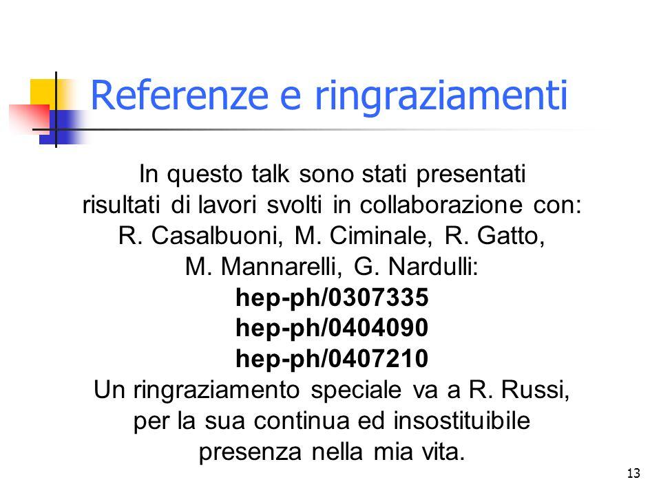 13 Referenze e ringraziamenti In questo talk sono stati presentati risultati di lavori svolti in collaborazione con: R. Casalbuoni, M. Ciminale, R. Ga