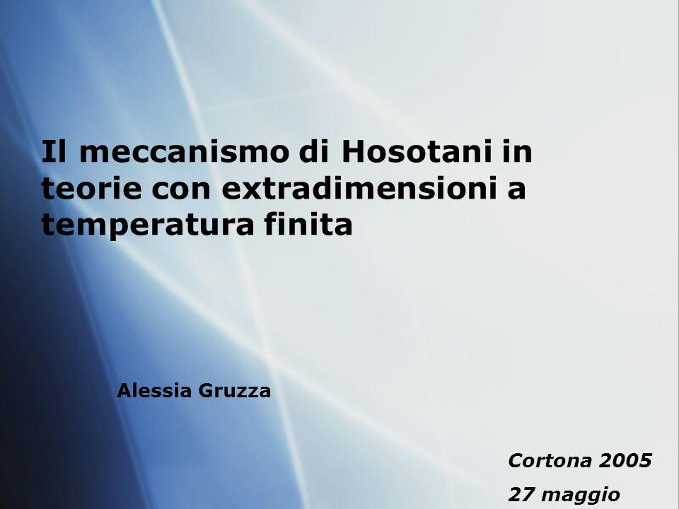 Il meccanismo di Hosotani in teorie con extradimensioni a temperatura finita Alessia Gruzza Cortona 2005 27 maggio