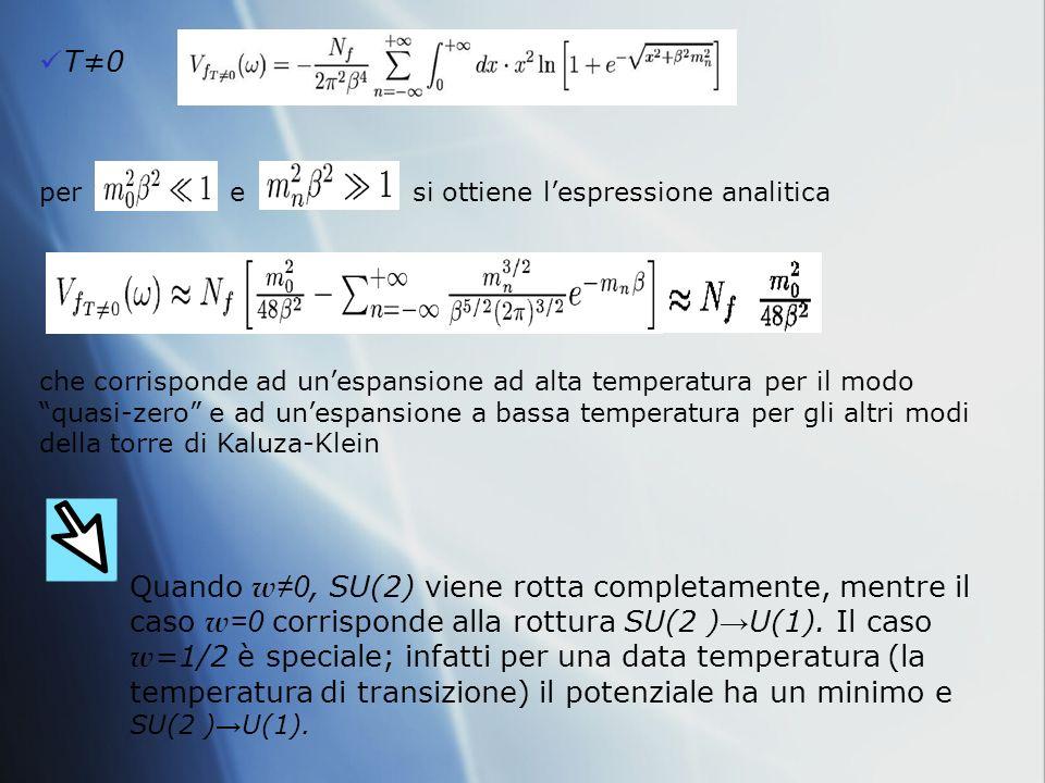 T0 per e si ottiene lespressione analitica Quando w 0, SU(2) viene rotta completamente, mentre il caso w =0 corrisponde alla rottura SU(2 ) U(1).