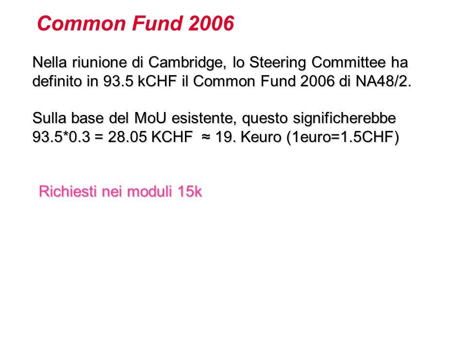 Nella riunione di Cambridge, lo Steering Committee ha definito in 93.5 kCHF il Common Fund 2006 di NA48/2.
