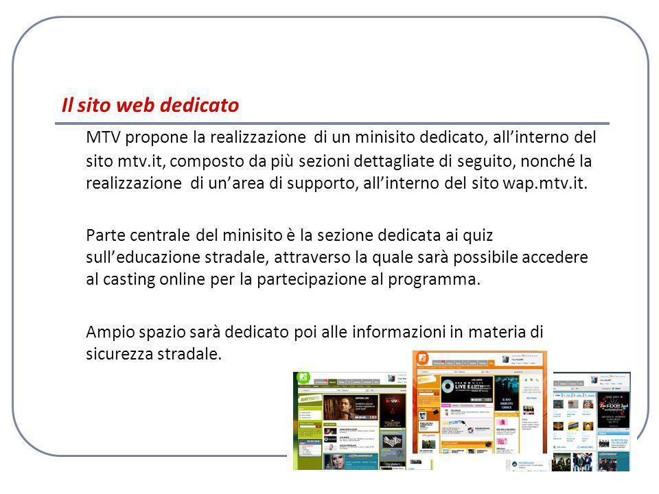 10 Il sito web dedicato MTV propone la realizzazione di un minisito dedicato, allinterno del sito mtv.it, composto da più sezioni dettagliate di seguito, nonché la realizzazione di unarea di supporto, allinterno del sito wap.mtv.it.