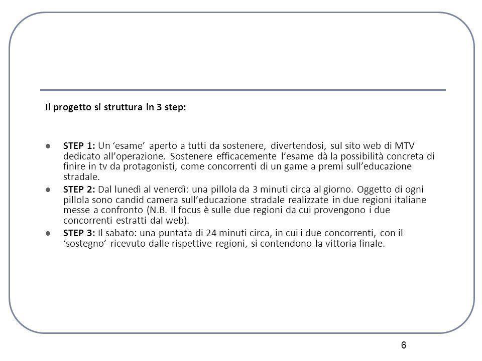 6 Il progetto si struttura in 3 step: STEP 1: Un esame aperto a tutti da sostenere, divertendosi, sul sito web di MTV dedicato alloperazione.