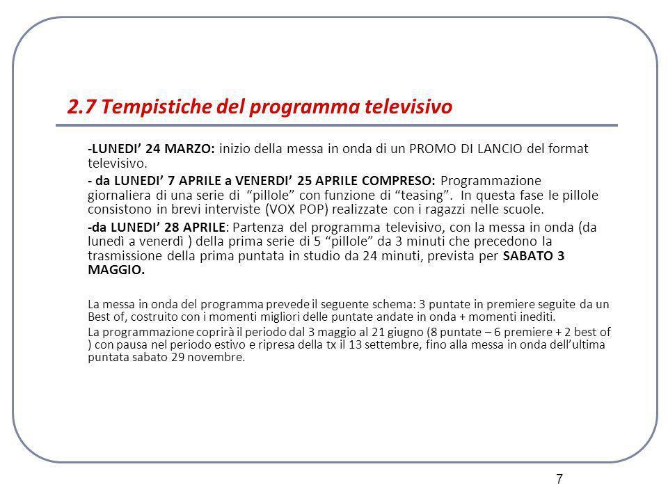 7 2.7 Tempistiche del programma televisivo -LUNEDI 24 MARZO: inizio della messa in onda di un PROMO DI LANCIO del format televisivo.