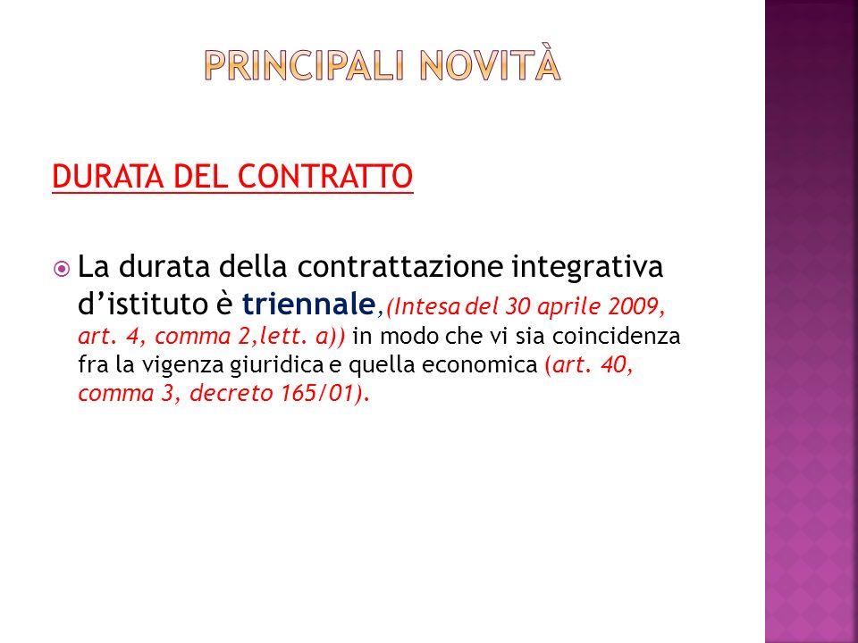 DURATA DEL CONTRATTO La durata della contrattazione integrativa distituto è triennale,(Intesa del 30 aprile 2009, art.