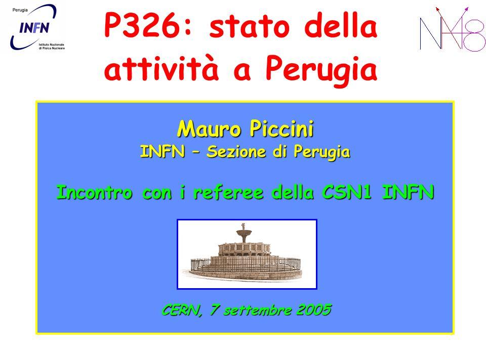 P326: stato della attività a Perugia Mauro Piccini INFN – Sezione di Perugia Incontro con i referee della CSN1 INFN CERN, 7 settembre 2005