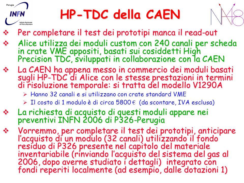 HP-TDC della CAEN Per completare il test dei prototipi manca il read-out Per completare il test dei prototipi manca il read-out Alice utilizza dei moduli custom con 240 canali per scheda in crate VME appositi, basati sui cosiddetti High Precision TDC, sviluppati in collaborazione con la CAEN Alice utilizza dei moduli custom con 240 canali per scheda in crate VME appositi, basati sui cosiddetti High Precision TDC, sviluppati in collaborazione con la CAEN La CAEN ha appena messo in commercio dei moduli basati sugli HP-TDC di Alice con le stesse prestazioni in termini di risoluzione temporale: si tratta del modello V1290A La CAEN ha appena messo in commercio dei moduli basati sugli HP-TDC di Alice con le stesse prestazioni in termini di risoluzione temporale: si tratta del modello V1290A Hanno 32 canali e si utilizzano con crate standard VME Il costo di 1 modulo è di circa 5800 (da scontare, IVA esclusa) La richiesta di acquisto di questi moduli appare nei preventivi INFN 2006 di P326-Perugia La richiesta di acquisto di questi moduli appare nei preventivi INFN 2006 di P326-Perugia Vorremmo, per completare il test dei prototipi, anticipare lacquisto di un modulo (32 canali) utilizzando il fondo residuo di P326 presente nel capitolo del materiale inventariabile (rinviando lacquisto del sistema del gas al 2006, dopo averne studiato i dettagli) integrato con fondi reperiti localmente (ad esempio, dalle dotazioni 1) Vorremmo, per completare il test dei prototipi, anticipare lacquisto di un modulo (32 canali) utilizzando il fondo residuo di P326 presente nel capitolo del materiale inventariabile (rinviando lacquisto del sistema del gas al 2006, dopo averne studiato i dettagli) integrato con fondi reperiti localmente (ad esempio, dalle dotazioni 1)