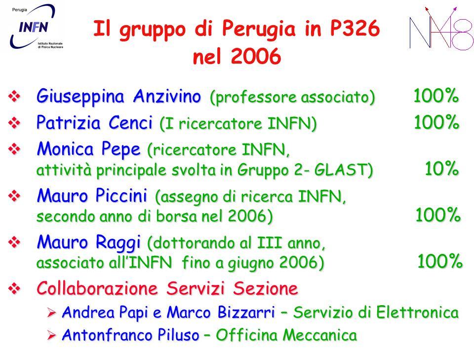 Il gruppo di Perugia in P326 nel 2006 Giuseppina Anzivino (professore associato) 100% Giuseppina Anzivino (professore associato) 100% Patrizia Cenci (I ricercatore INFN) 100% Patrizia Cenci (I ricercatore INFN) 100% Monica Pepe (ricercatore INFN, attività principale svolta in Gruppo 2- GLAST) 10% Monica Pepe (ricercatore INFN, attività principale svolta in Gruppo 2- GLAST) 10% Mauro Piccini (assegno di ricerca INFN, secondo anno di borsa nel 2006) 100% Mauro Piccini (assegno di ricerca INFN, secondo anno di borsa nel 2006) 100% Mauro Raggi (dottorando al III anno, associato allINFN fino a giugno 2006) 100% Mauro Raggi (dottorando al III anno, associato allINFN fino a giugno 2006) 100% Collaborazione Servizi Sezione Collaborazione Servizi Sezione Andrea Papi e Marco Bizzarri – Servizio di Elettronica Andrea Papi e Marco Bizzarri – Servizio di Elettronica Antonfranco Piluso – Officina Meccanica Antonfranco Piluso – Officina Meccanica