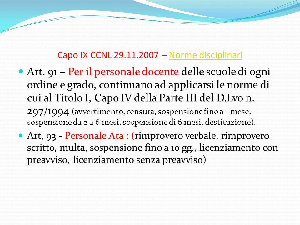 Capo IX CCNL 29.11.2007 – Norme disciplinariNorme disciplinari Art. 91 – Per il personale docente delle scuole di ogni ordine e grado, continuano ad a