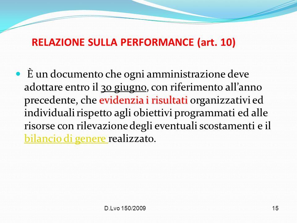 D.Lvo 150/200915 RELAZIONE SULLA PERFORMANCE (art. 10) evidenzia i risultati È un documento che ogni amministrazione deve adottare entro il 30 giugno,