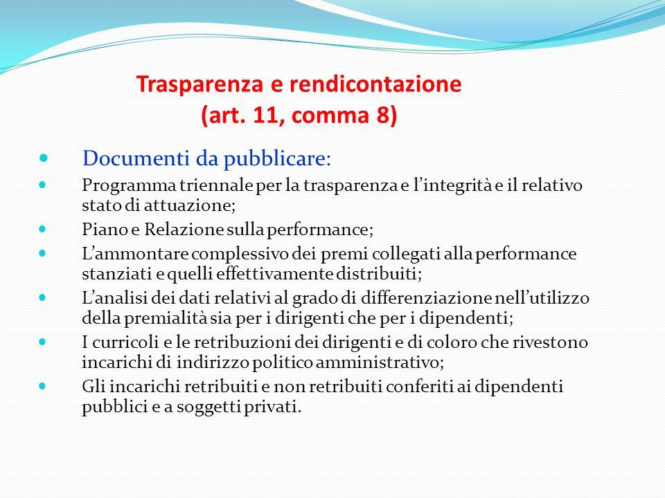 Trasparenza e rendicontazione (art. 11, comma 8) Documenti da pubblicare: Programma triennale per la trasparenza e lintegrità e il relativo stato di a