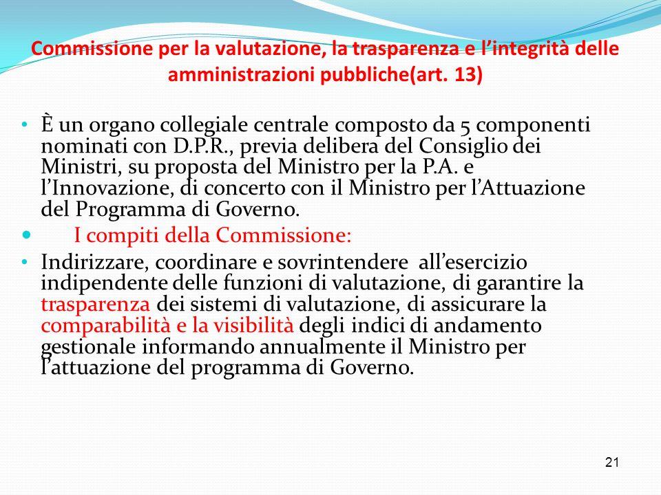 21 Commissione per la valutazione, la trasparenza e lintegrità delle amministrazioni pubbliche(art. 13) È un organo collegiale centrale composto da 5
