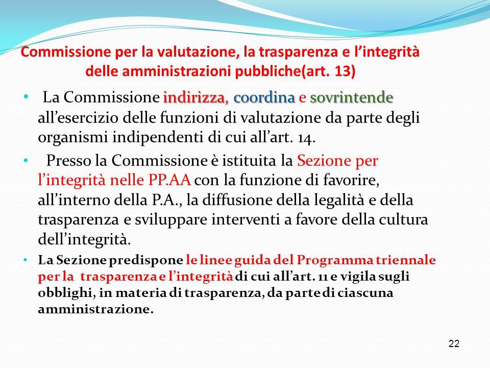 22 Commissione per la valutazione, la trasparenza e lintegrità delle amministrazioni pubbliche(art. 13) indirizza,coordinasovrintende La Commissione i