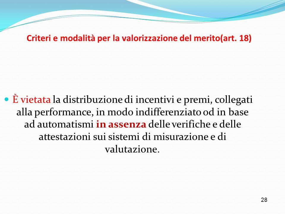 28 Criteri e modalità per la valorizzazione del merito(art. 18) È vietata la distribuzione di incentivi e premi, collegati alla performance, in modo i