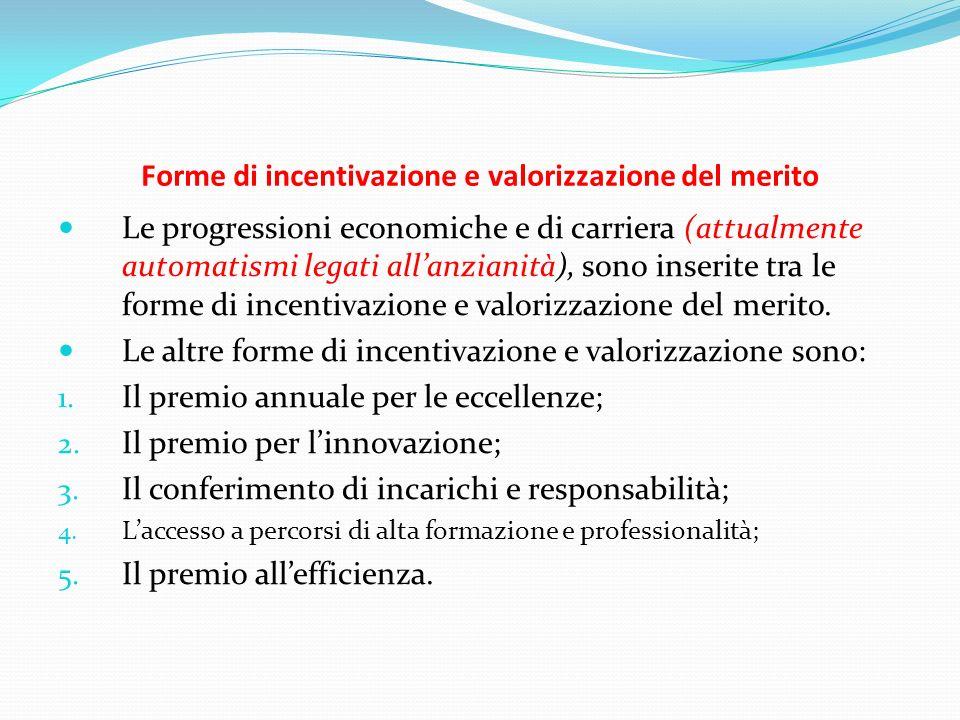 Forme di incentivazione e valorizzazione del merito Le progressioni economiche e di carriera (attualmente automatismi legati allanzianità), sono inser