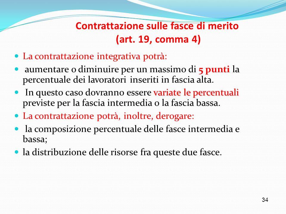 34 Contrattazione sulle fasce di merito (art. 19, comma 4) La contrattazione integrativa potrà: aumentare o diminuire per un massimo di 5 punti la per