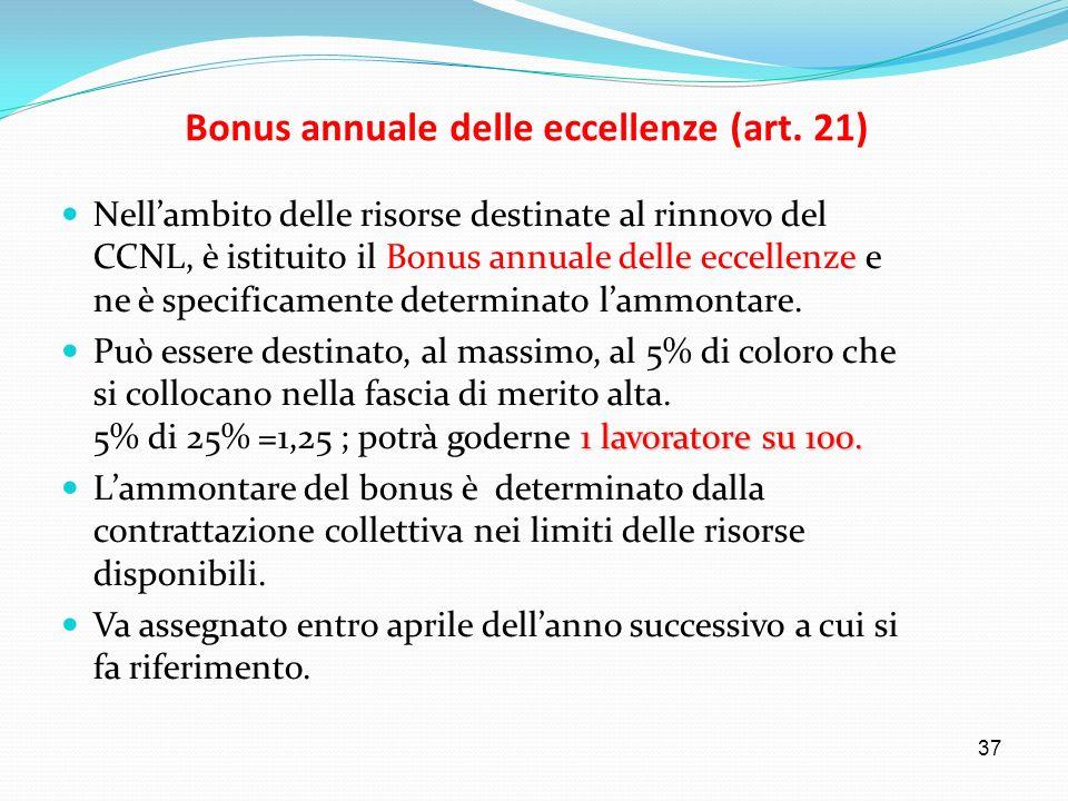 37 Bonus annuale delle eccellenze (art. 21) Nellambito delle risorse destinate al rinnovo del CCNL, è istituito il Bonus annuale delle eccellenze e ne