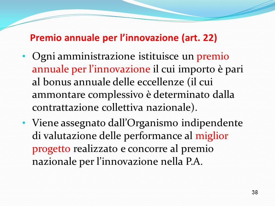 38 Premio annuale per linnovazione (art. 22) Ogni amministrazione istituisce un premio annuale per linnovazione il cui importo è pari al bonus annuale