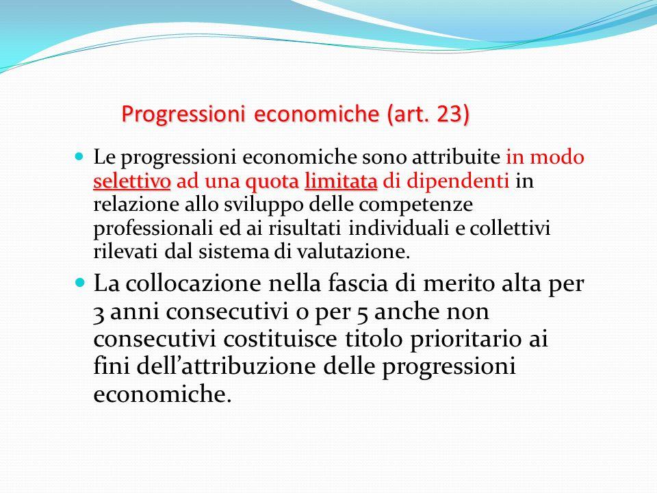 Progressioni economiche (art. 23) selettivoquota limitata Le progressioni economiche sono attribuite in modo selettivo ad una quota limitata di dipend