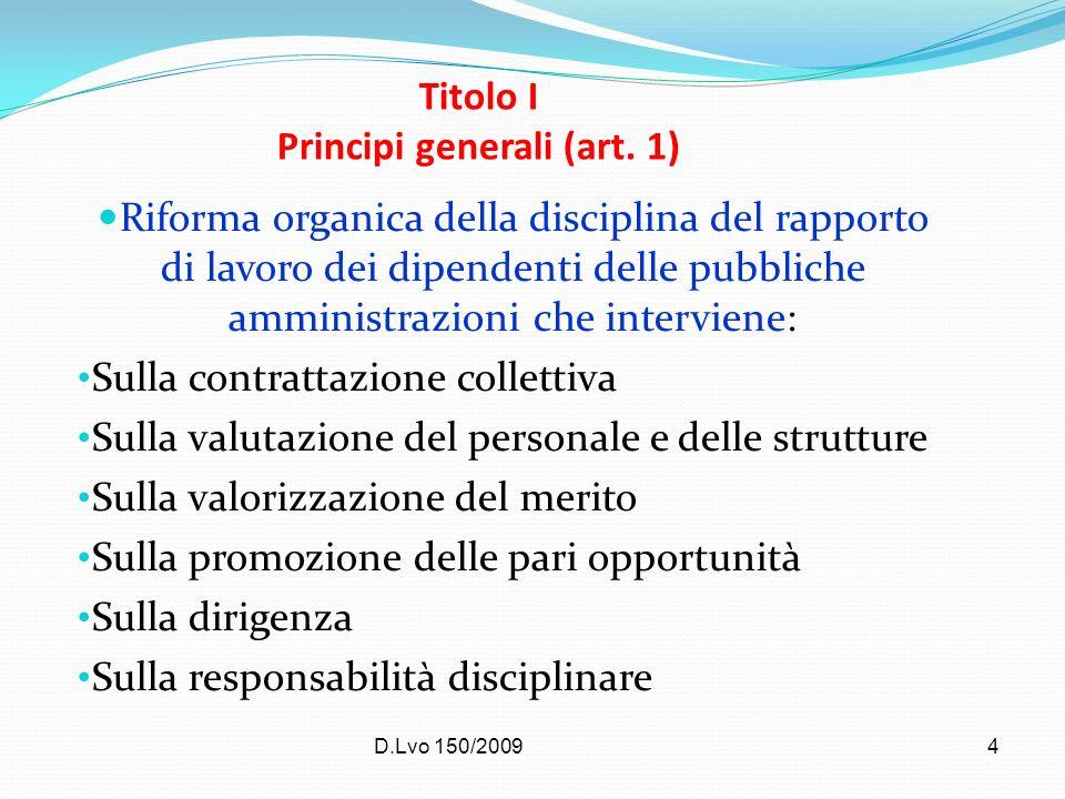 D.Lvo 150/20094 Titolo I Principi generali (art. 1) Riforma organica della disciplina del rapporto di lavoro dei dipendenti delle pubbliche amministra