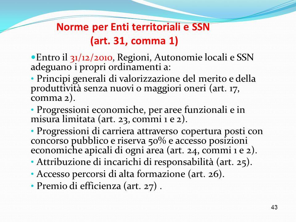 43 Norme per Enti territoriali e SSN (art. 31, comma 1) Entro il 31/12/2010, Regioni, Autonomie locali e SSN adeguano i propri ordinamenti a: Principi